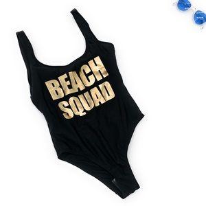 4/$25 Cheeky Black Beach One Piece Swimsuit NEW XS